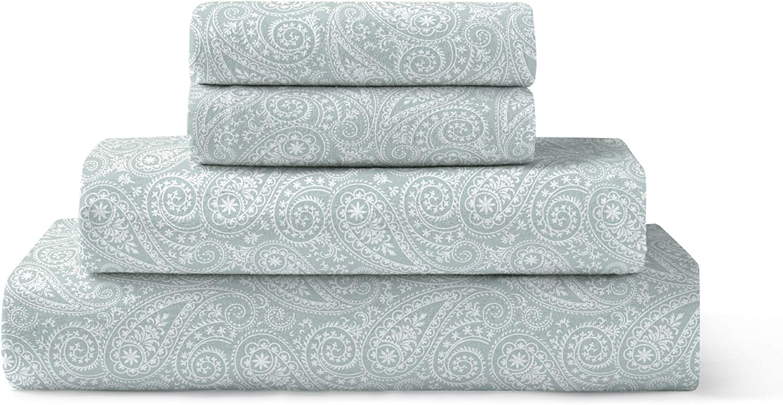 Brielle 100-Percent Cotton Flannel Sheet Set, Twin, Paisley Park Spa