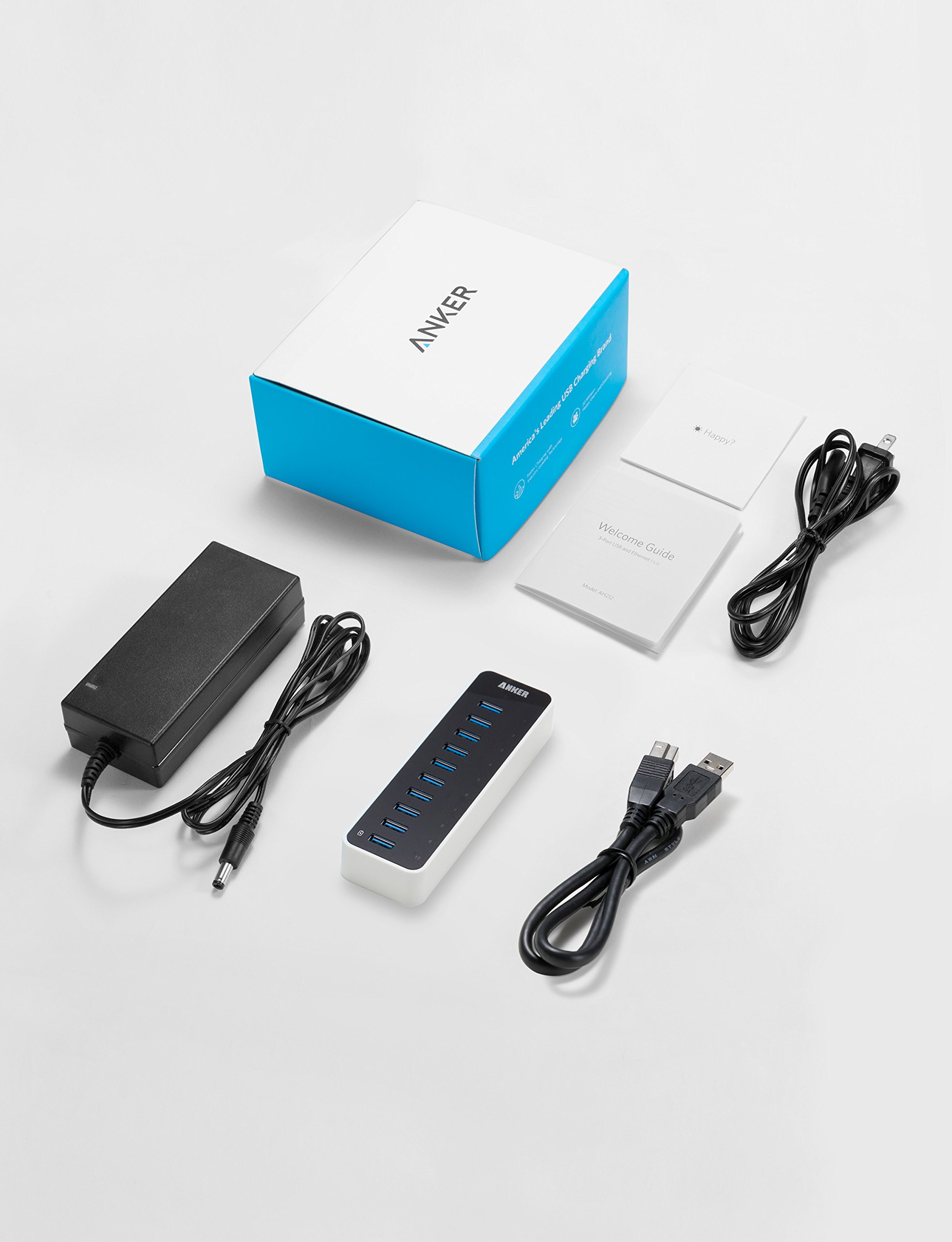 Anker USB 3.0 9-Port Hub + 5V 2.1A Smart Charging Port with 12V 5A Power Adapter by Anker (Image #3)