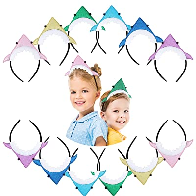 12 Pack Baby Shark Headbands Perfect Shark Party Favors Baby Shark Party Supplies by 7 Colors Kids: Toys & Games