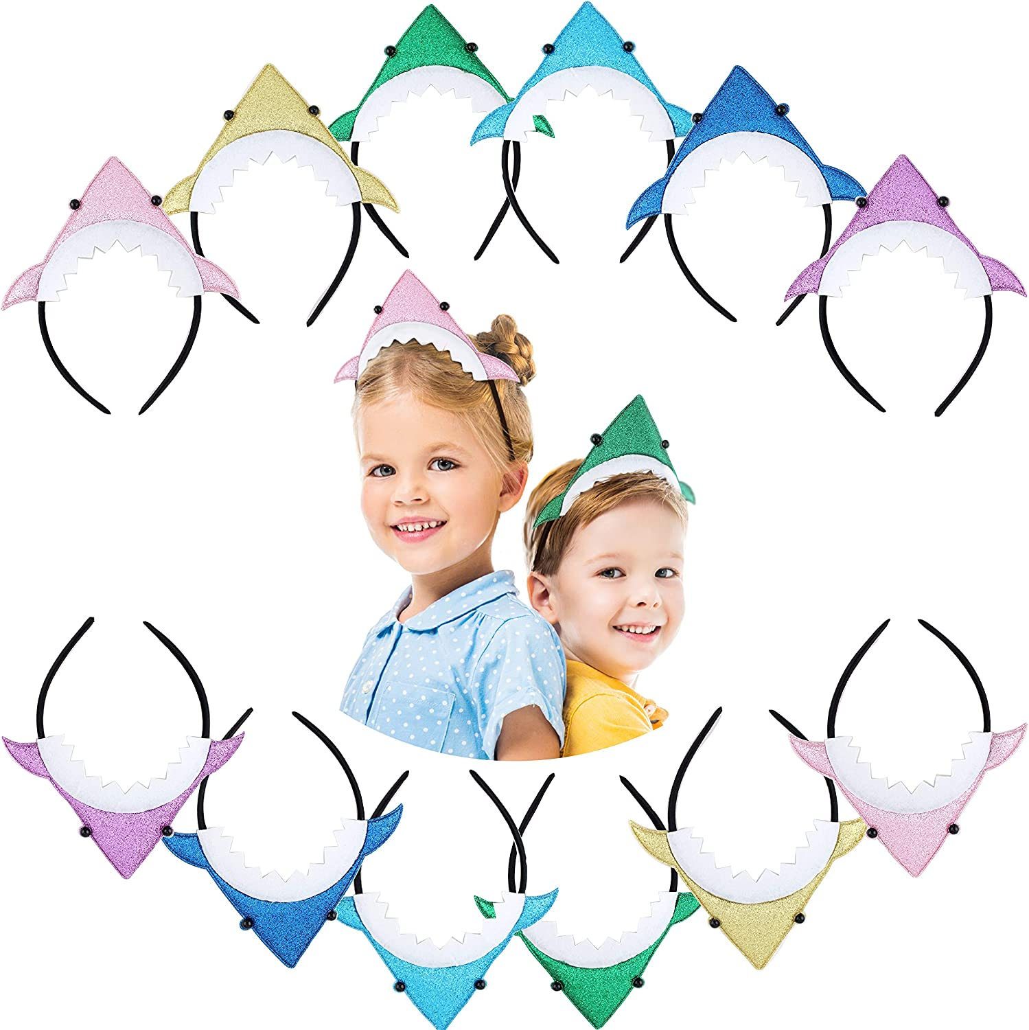 12 Pack Baby Shark Headbands Perfect Shark Party Favors Baby Shark Party Supplies by 7 Colors Kids