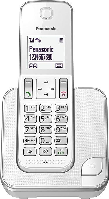 Panasonic KX-TGD310 - Teléfono fijo inalámbrico (LCD, identificador de llamadas, agenda de 120 números, bloqueo de llamada, modo ECO, reducción de ruido) Blanco, Solo: Panasonic: Amazon.es: Electrónica