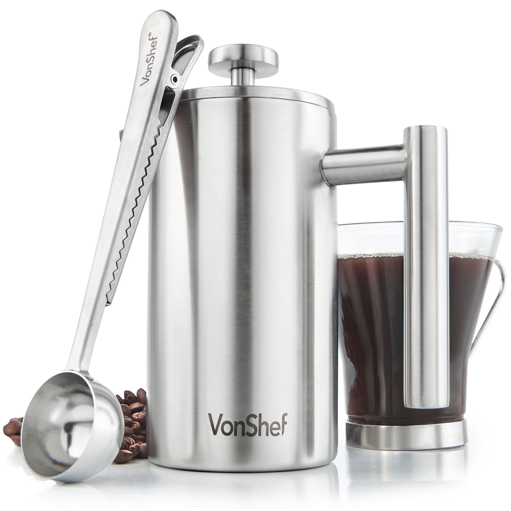 VonShef 3 Cup French Press Double-Wall Satin Polished Stainless Steel Cafetiere Coffee with Filter
