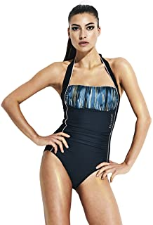 492584645a Womens Elle Sport Womens Halter Neck Piped Ruched Swimsuit in Blue ...