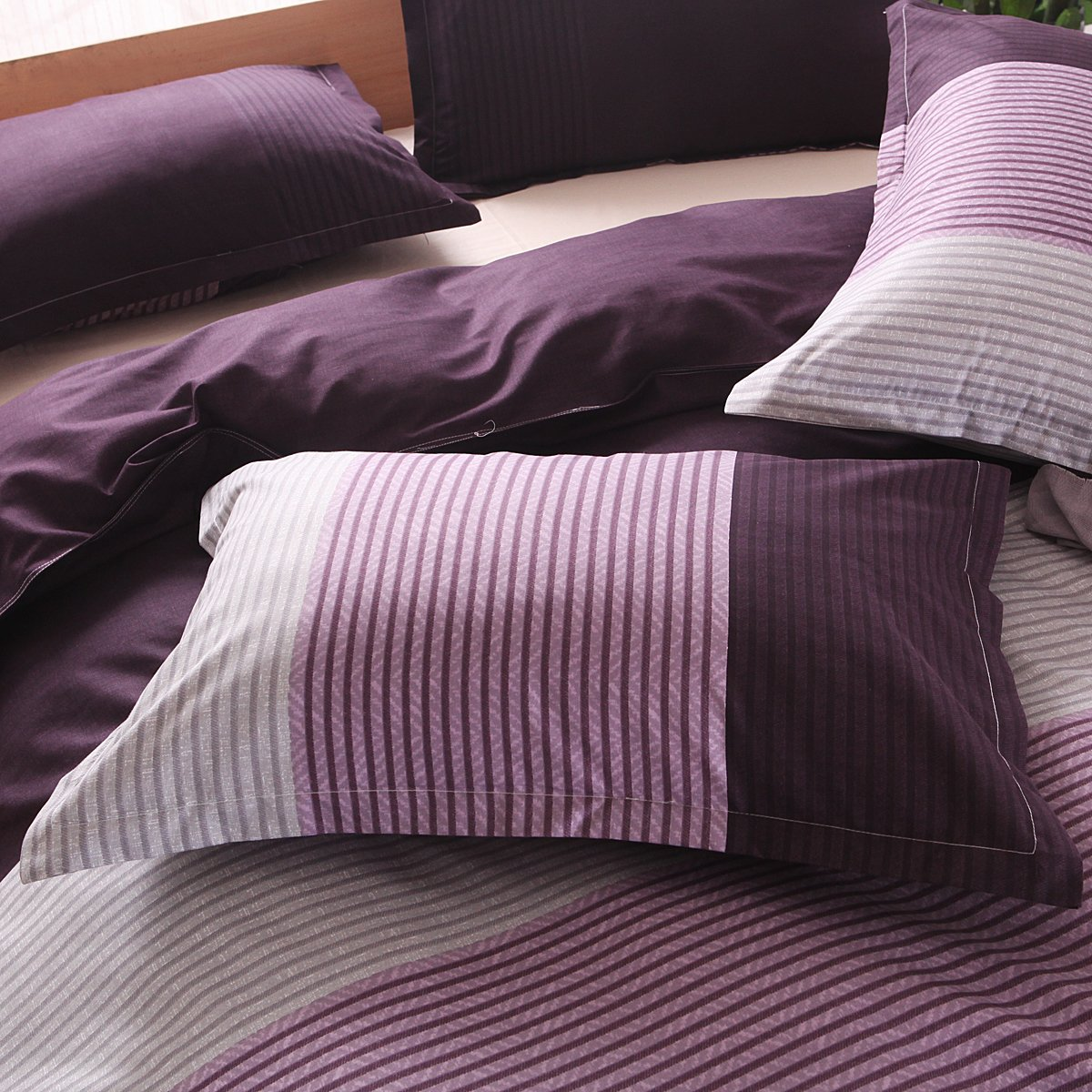 Tenghe Stripe Colorblock Print 3 Pcs Duvet Cover Sets Soft Reversible Bedding Cover Brushed Microfiber Full Queen Size Queen,Purple Stripe