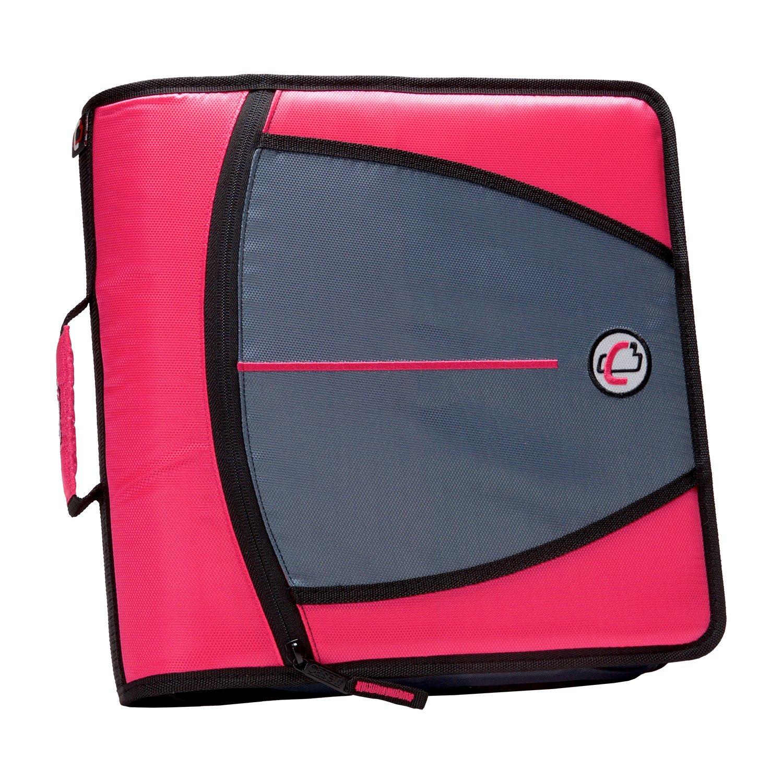 Case-it Mighty Zip Tab 3-Inch Zipper Binder, Neon Pink (D-146-NEOPNK) by Case it