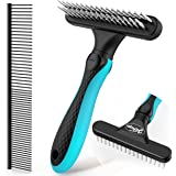 """JOFUYU Dog Grooming Rake and 7.5"""" Steel Comb, 2-in-1 Pet Combing Kit, DeShedding Tool for Dogs, Rabbits, Cats, Small…"""