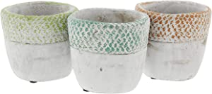 Lucky Winner Distressed Round Cement Planters, Set of 3