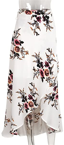 bb6fd7d380 Image Unavailable. Image not available for. Color: Simplee Vintage floral  print long skirts women Summer elegant beach maxi skirt Boho high waist ...
