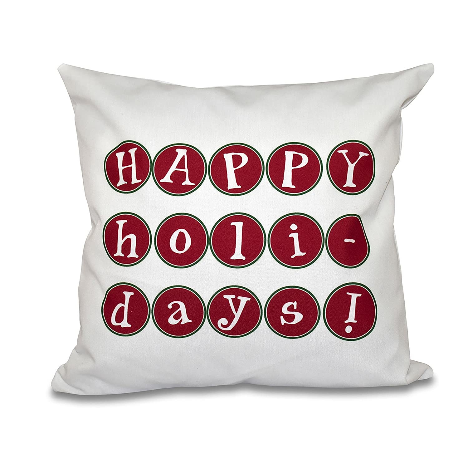 Word Print 18x18 Red E by design PWHN525RE6GR7-18 18 x 18-inch Happy Holidays Too