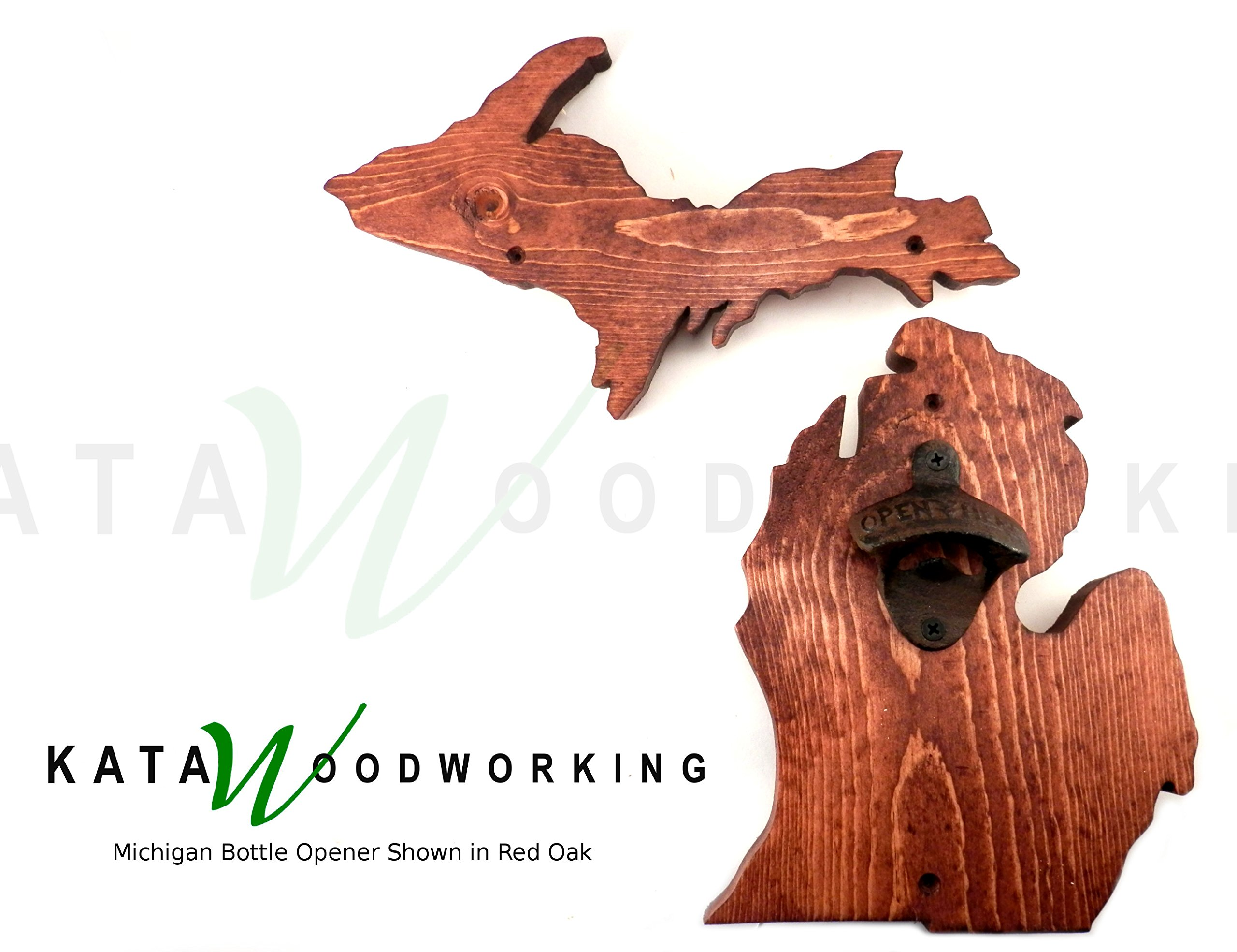 Michigan Upper & Lower Peninsula Shaped Wood Cut-out Bottle Opener - Wall Mount - Handmade by Kata Woodworking (Image #1)