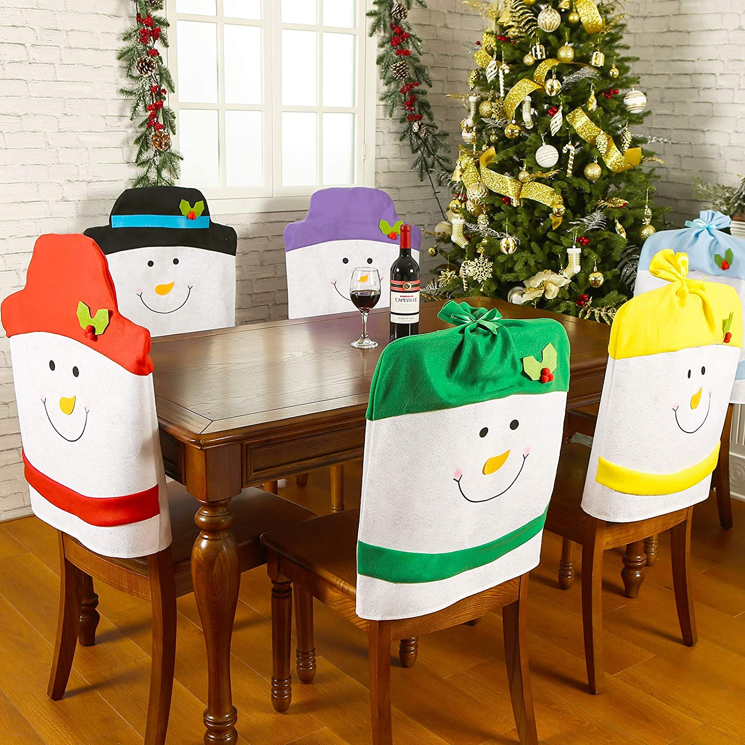 "Sattiyrch Christmas Snowman Chair Covers Set of 6,Novelty Party Holiday Dining Chair Slipcovers for Kitchen,Bar or Restaurant,23""(H) 20.5""(W): Kitchen & Dining"