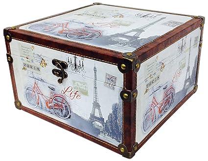 Pide X esa Boca París PQ Caja de Madera Forrada en Vinilo con Cierre metálico,