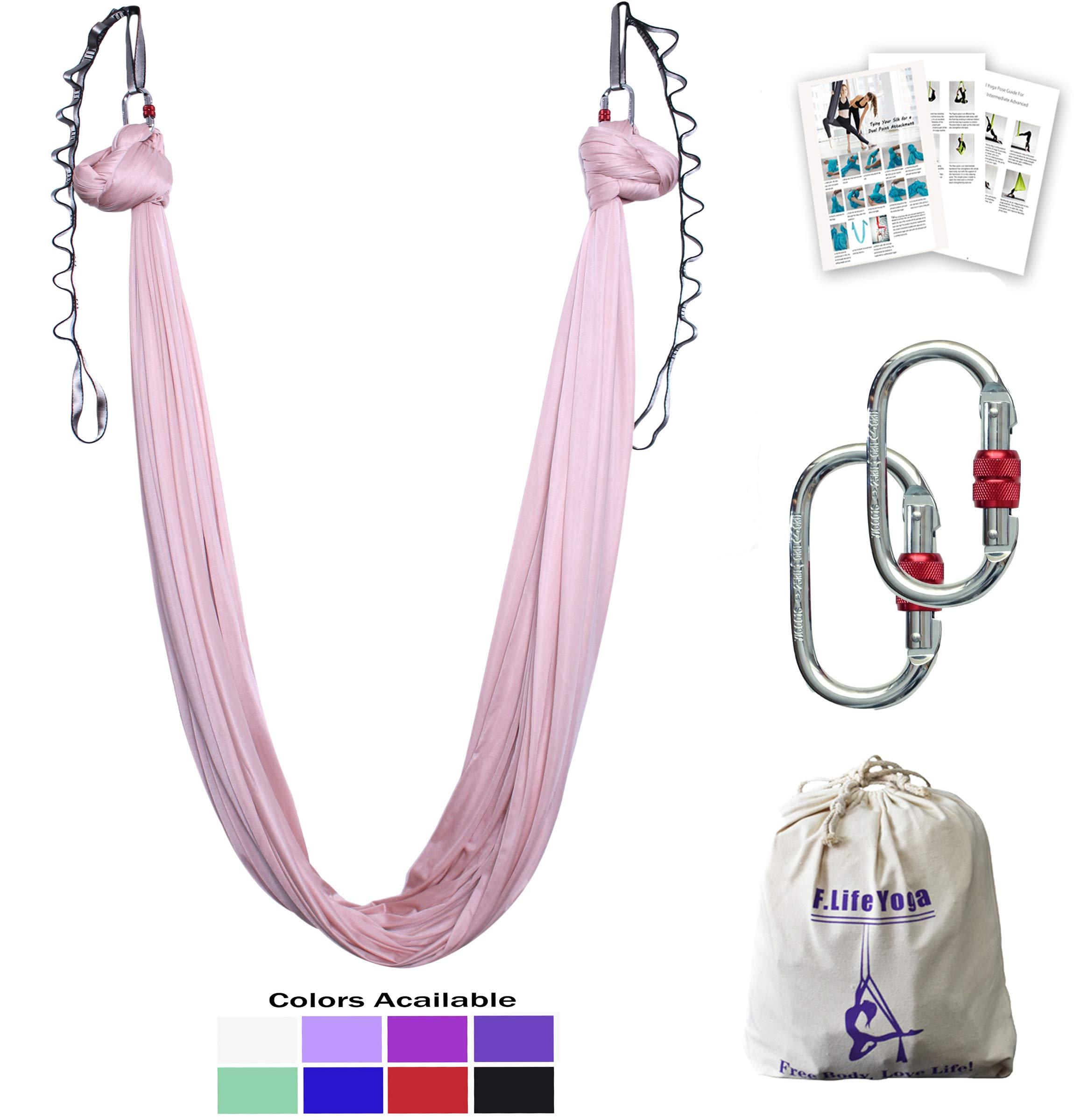Aerial Yoga Hammock 5.5 Yards Premium Aerial Silk Fabric Yoga Swing for Antigravity Yoga Inversion Include Daisy Chain,Carabiner and Pose Guide (Blush Nude)