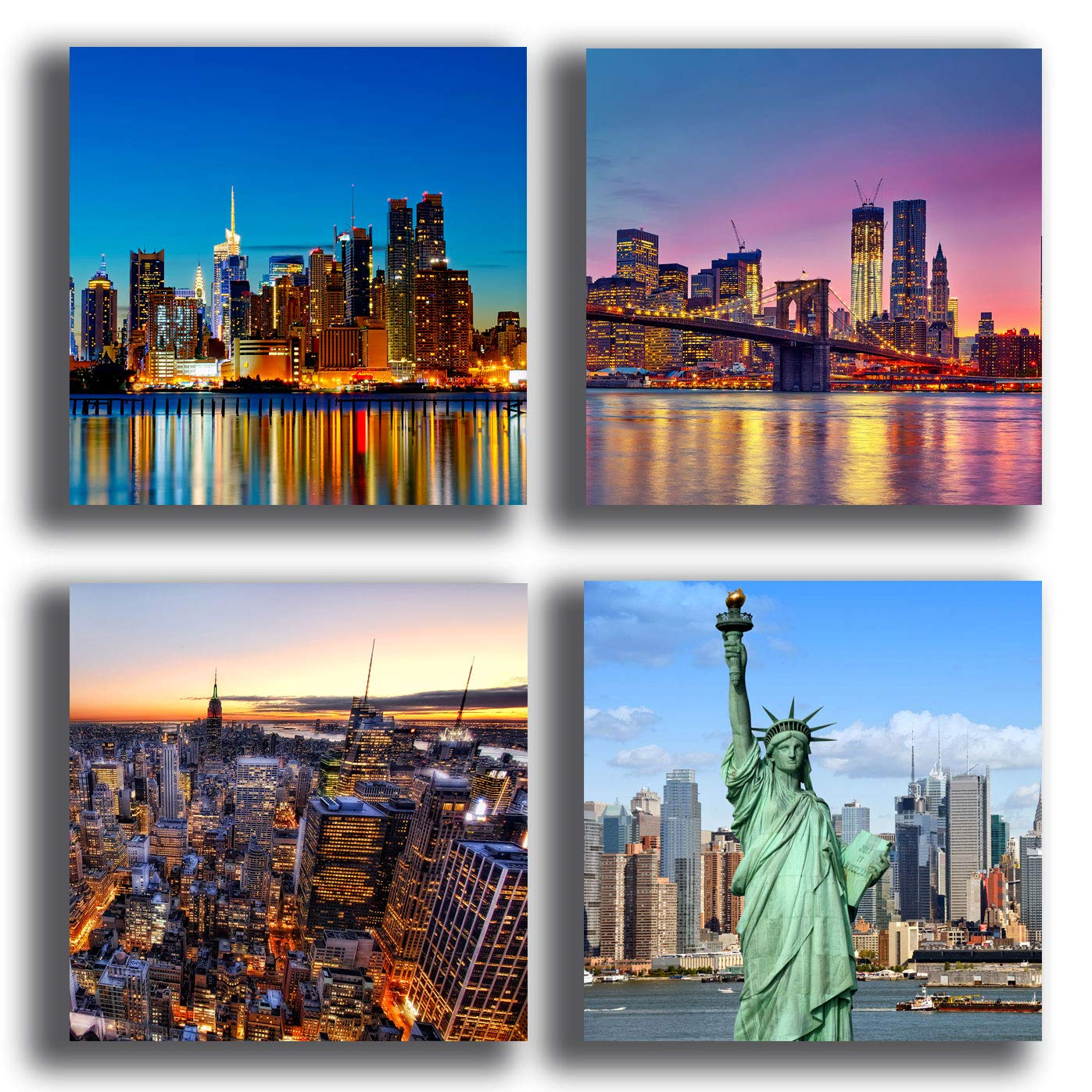 4 pezzi 40x40 cm cad. Quadri Moderni NEW YORK Manhattan citt/à 4 pezzi quadretti Stampa Tela CANVAS Arredamento XXL Arredo soggiorno salotto camera da letto cucina ufficio bar ristorante