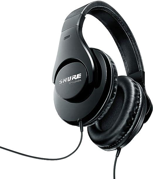 Shure Srh240a Bk Efs Geschlossener Kopfhörer Over Ear Geräuschunterdrückend Druckvolle Bässe Und Detaillierte Höhen Schwarz Musikinstrumente