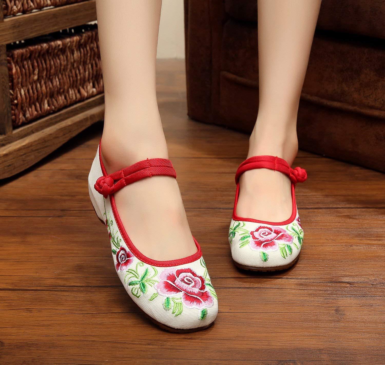 Moontang Bestickte Schuhe Sehnensohle Ethno-Stil weibliche Stoffschuhe Mode Anstieg bequem lässig im Anstieg Mode weiß 37 (Farbe   - Größe   -) 47e03f