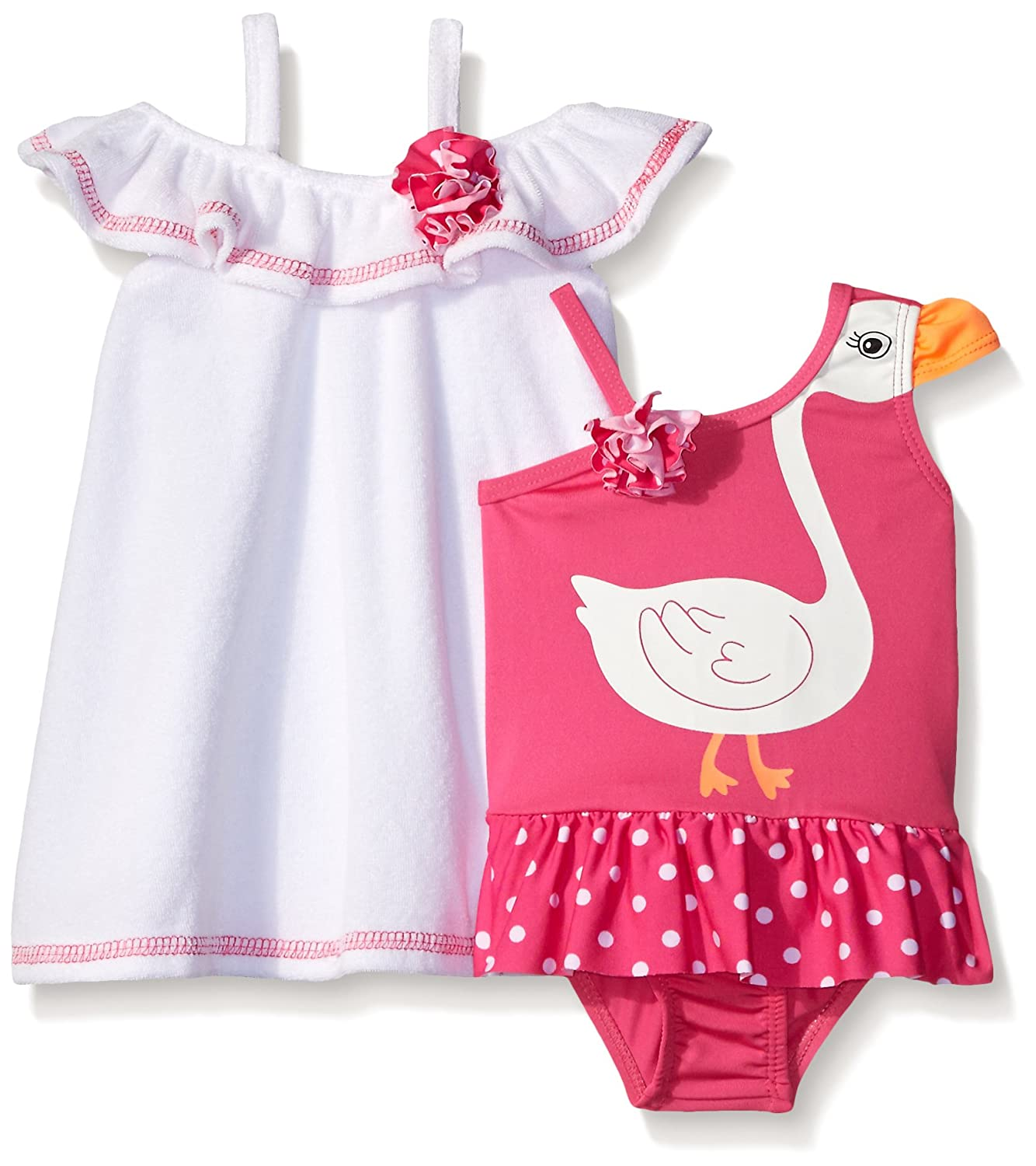 Baby Buns Baby Girls' Swan Princess Terry Cover Up Swim Set w03737bb