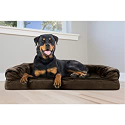 FurHaven Pet Dog Bed | Orthopedic Plush & Suede Sofa-Style Couch Pet Bed for Dogs & Cats, Espresso, Jumbo