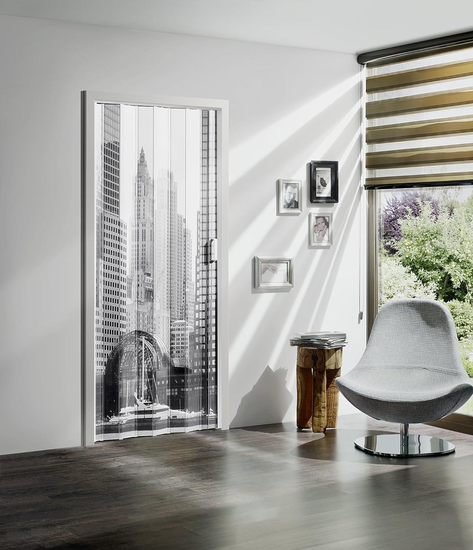 Faltt/ür MARLEY Black /& White ohne Fenster B 85 x H 197 cm Motiv Skyline