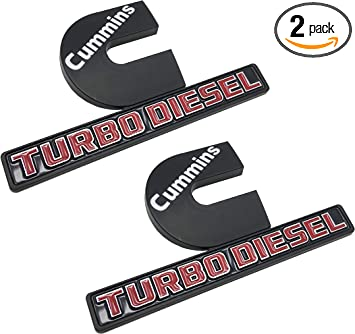2pcs Cummins logo 3D badge Stickers Emblems Door Tailgates Nameplate Letter Fender Decals White