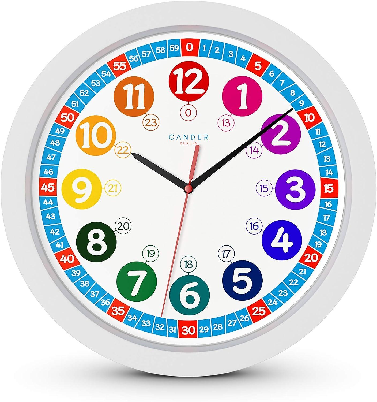 ONETIME Reloj de Pared Infantil (diámetro de) una Vez 30,5 cm Reloj de Pared Infantil Que Hace Relojes de presión y un diseño Alegre de Animales con - Visualización de la Hora del día el Aprendizaje