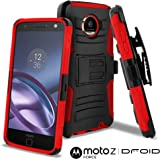 Moto Z Force Droid Case, CellJoy [Ultra Rugged Hybrid] Motorola XT1650M, Dual Layer ((ShockProof)) Reinforced Bumper Protection Cover {Kickstand} [Locking Swivel Belt Clip Holster Combo] (Red)
