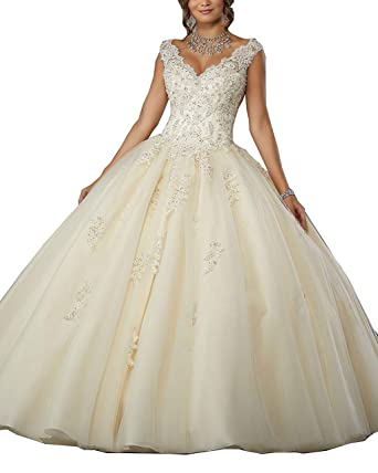 5e9c3a13ceb Gemila Women s Lace Applique Sweet 16 V-Neck Tulle Floor Length Straps Ball Gown  Quinceanera