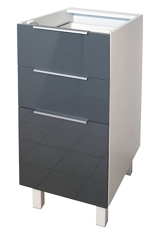 berlenus ct4bg meuble bas de cuisine avec 3 tiroirs gris haute brillance 40 cm amazonfr cuisine maison
