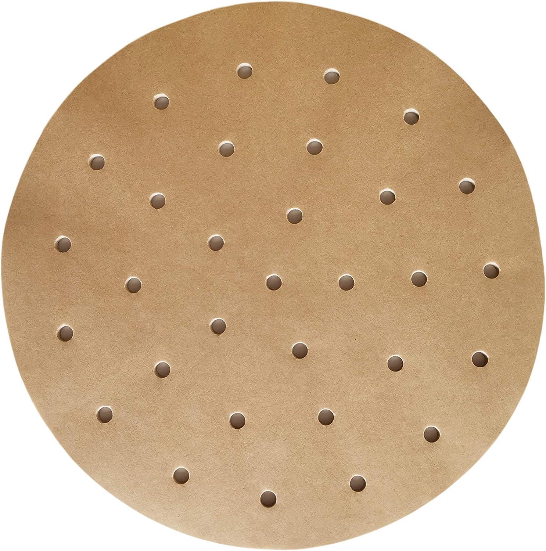9 Inches Air Fryer Parchment Paper Liners 200 Sheets Unbleached with Holes, Non-Stick Precut Baking Parchment Paper Rounds