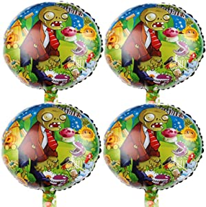 """Bsstr 4PCS Plants VS Zombies Balloons Party Supplies 18"""" Foil Balloons for Kids Baby Shower Birthday Party Decorations"""