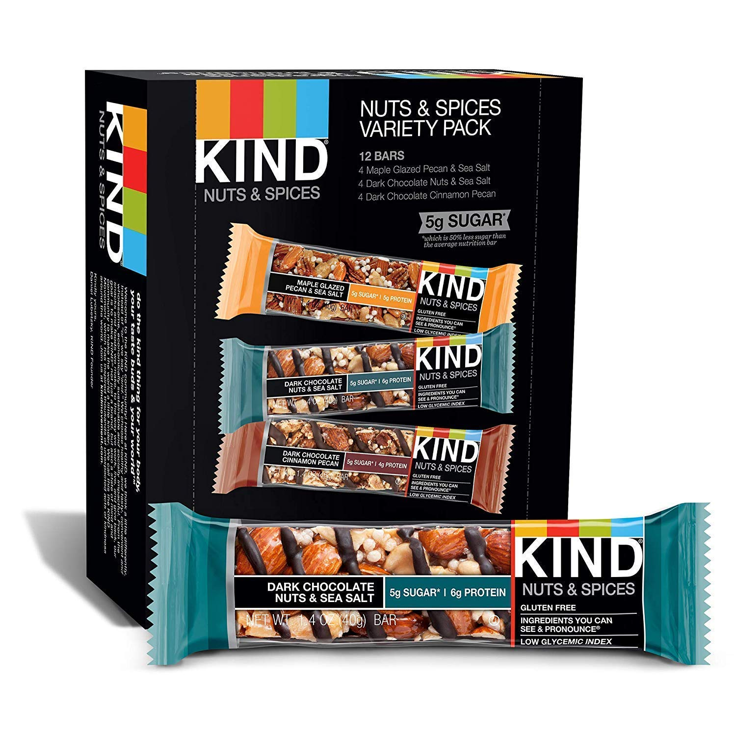 KIND Bars, Nuts and Spices Variety Pack, Gluten Free, 1.4 Ounce Bars,Packaging May Vary