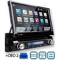 Tristan Auron BT1D7018A Autoradio mit Android 8.0 + OBD 2 Adapter, 7'' Touchscreen Bildschirm, mit Navi, GPS Navigation, Bluetooth Freisprecheinrichtung, Octa Core Prozessor, Mirror-Link, USB/SD, OBD 2, DAB+, 1 DIN