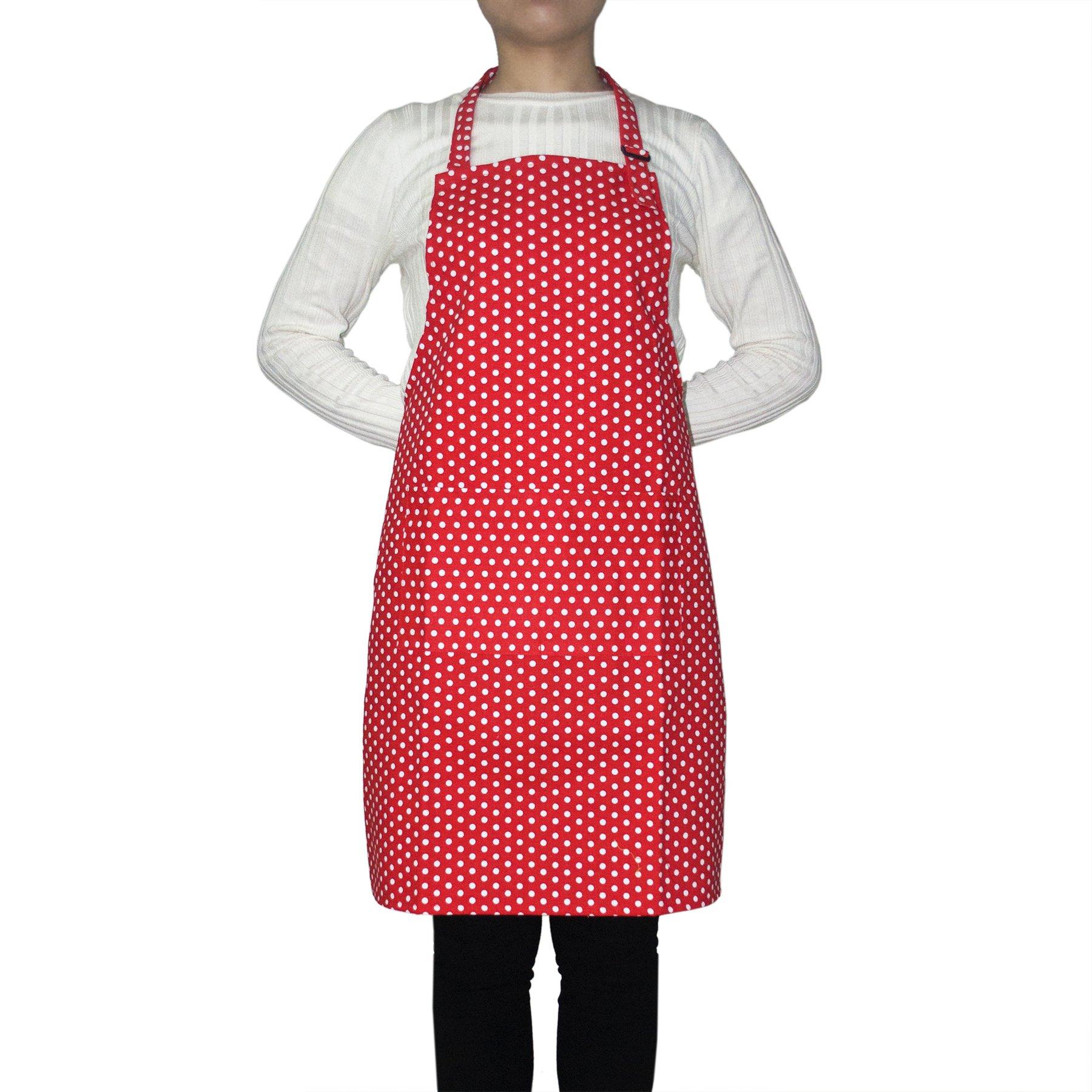 Opromo 12-Pack Cotton Canvas Adjustable Chef Kitchen Aprons-Red Dot-XL