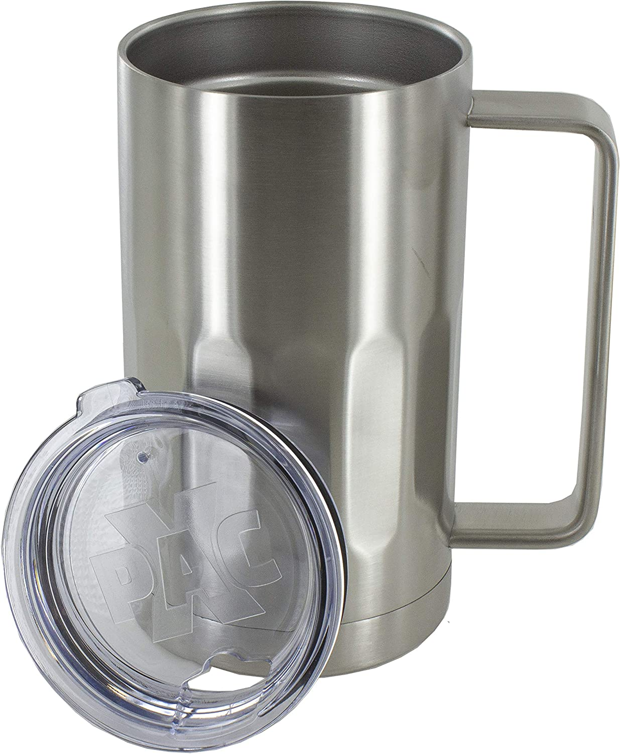 Amazon Com Stainless Steel Beer Mug With Lid 20 Ounce Double Walled Vacuum Insulated Beer Mug By Maxam Shatterproof And Spill Resistant 2 Pack Beer Mugs Steins