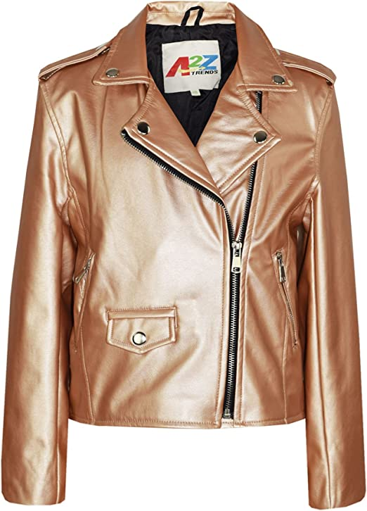 Kids Jackets Girls Designer/'s PU Leather Wine Jacket Zip Up Biker Coats 5-13 Yr