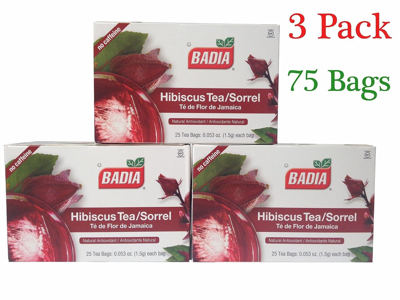 Badia Hibiscus Tea/Sorrel (3 Pack) 75 Bags(Natural Antioxidant)