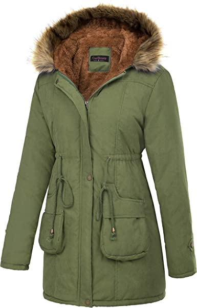 Women Thick Fur Collar Hooded Coats Parka Ladies Winter Warm Fleece Lined Jacket