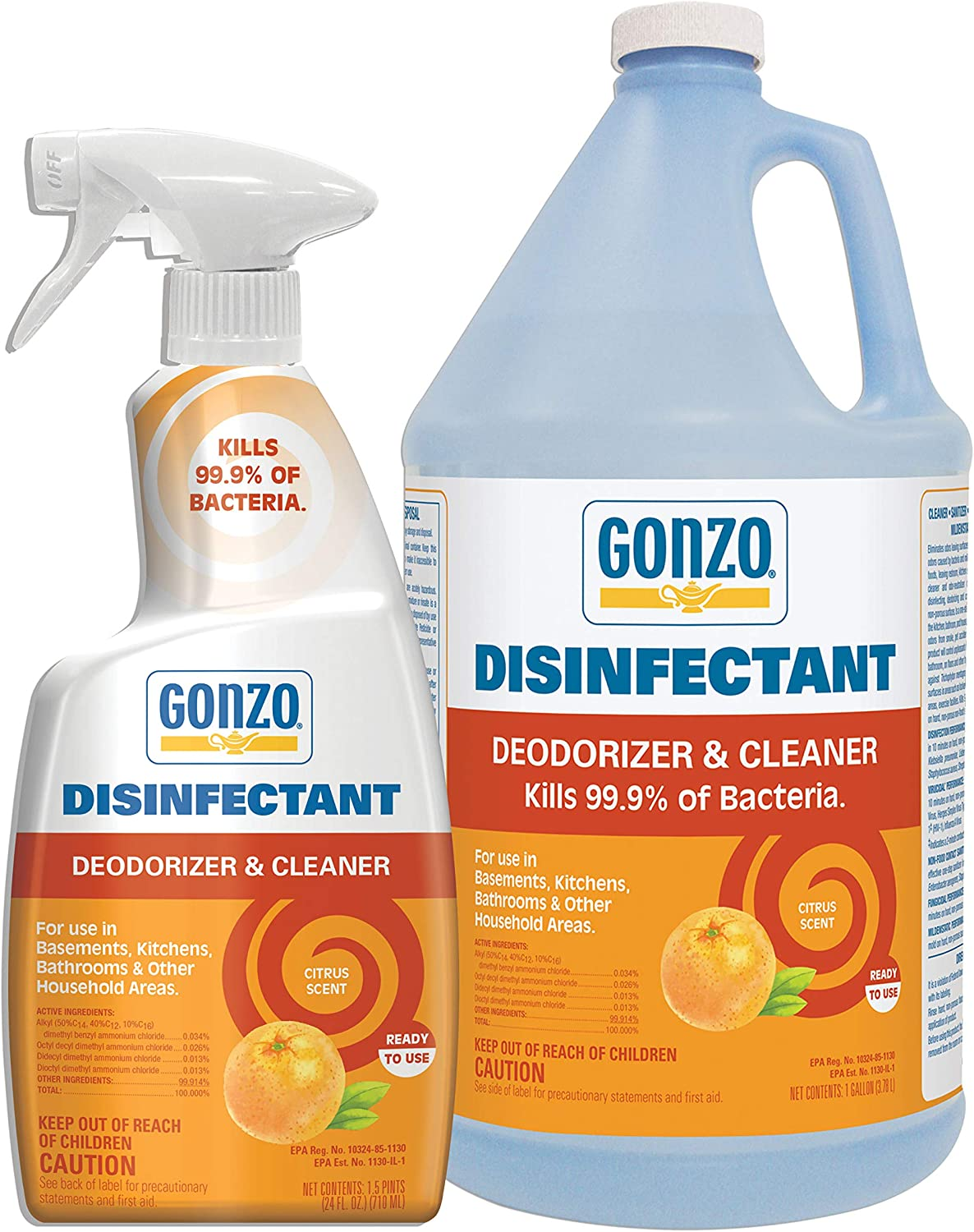 Gonzo Natural Magic Disinfectant Spray & Multipurpose Cleaner - Citrus Value Pack 24 oz. and 128 oz. Refill - Odor Eliminator, Disinfectant, Flood Fire Water Damage Restoration