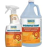 Gonzo Disinfectant Spray & Multipurpose Cleaner - Citrus Value Pack 24 oz. and 128 oz. Refill - Odor Eliminator, Disinfectant
