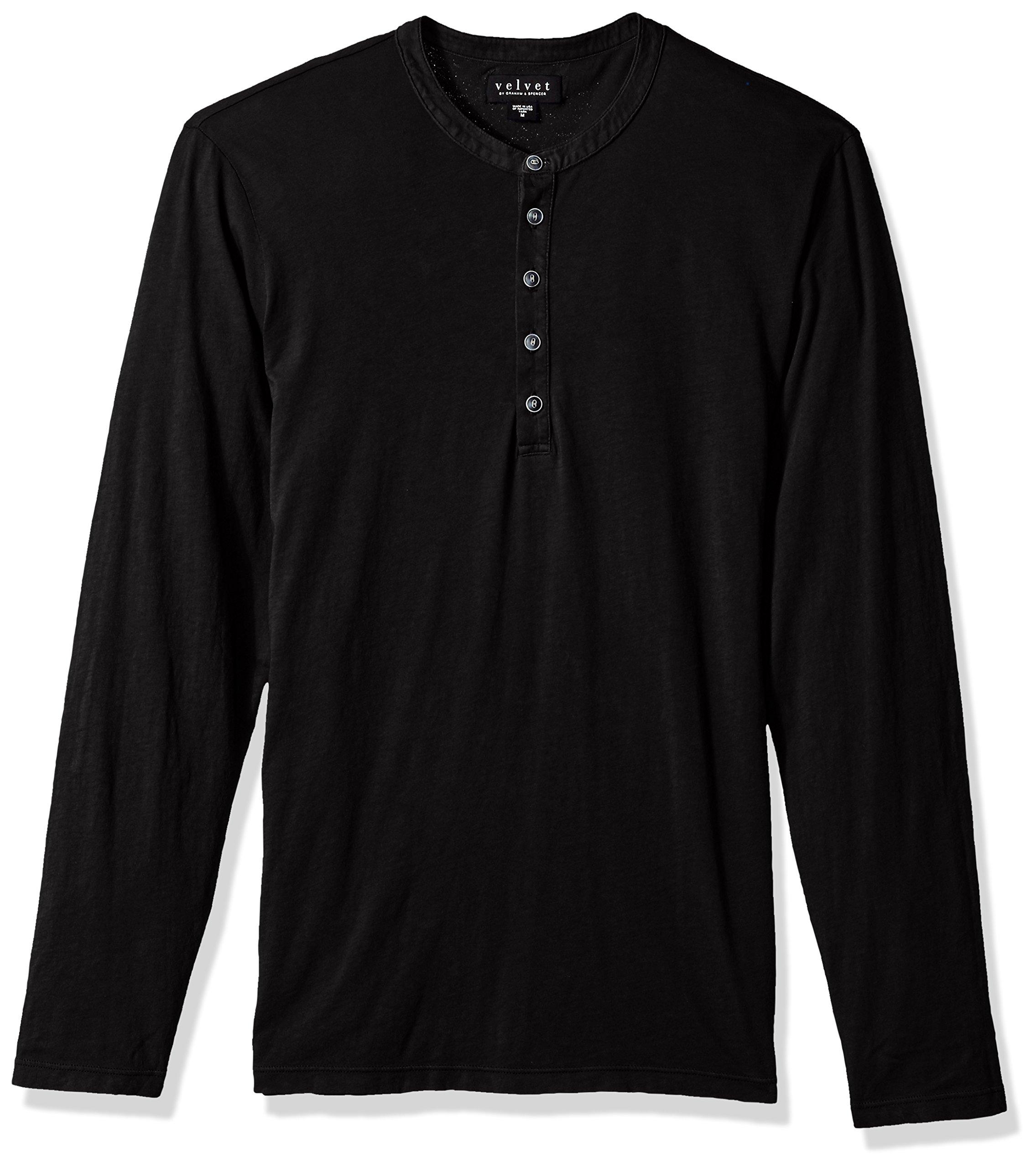 VELVET BY GRAHAM & SPENCER Men's Alvaro Henley in All Cotton, Black, Large