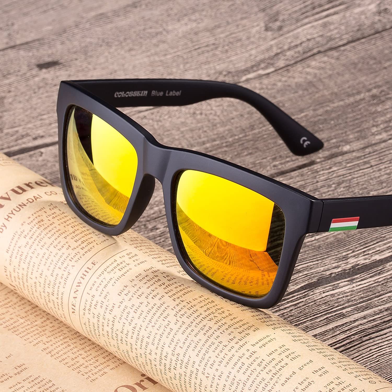 e5bebfbe7e Amazon.com  COLOSSEIN Vintage Polarized Sunglasses for Women Square Horn  Rimmed UV400 Polarized Driving Glasses  Clothing