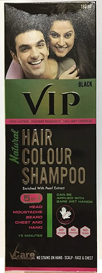 Buy VCare Vip Hair Colour Shampoo 5 In 1 - 180Ml (Black) Online at ...