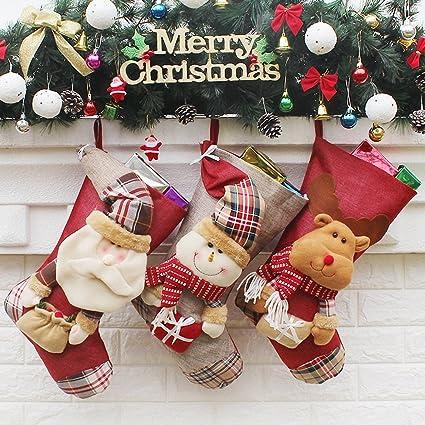 3 pcs gran tamaño – calcetines navideños (Papá Noel, muñeco de nieve, renos