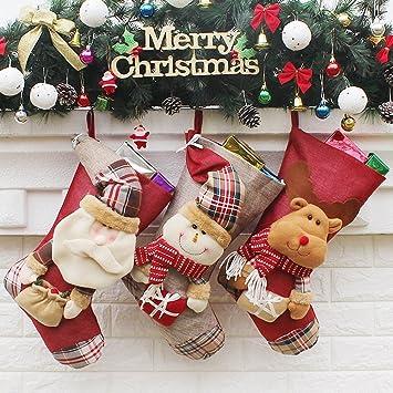 3 pcs gran tamaño - calcetines navideños (Papá Noel, muñeco de nieve, renos, Navidad carácter 3d juguetes de Papá Noel Candy calcetines para decoración: ...