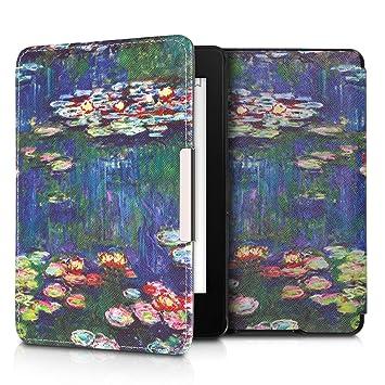 kwmobile Funda para Amazon Kindle Paperwhite - Carcasa para e-Reader de Cuero sintético - Case con diseño de nenúfares (para Modelos hasta el 2017)