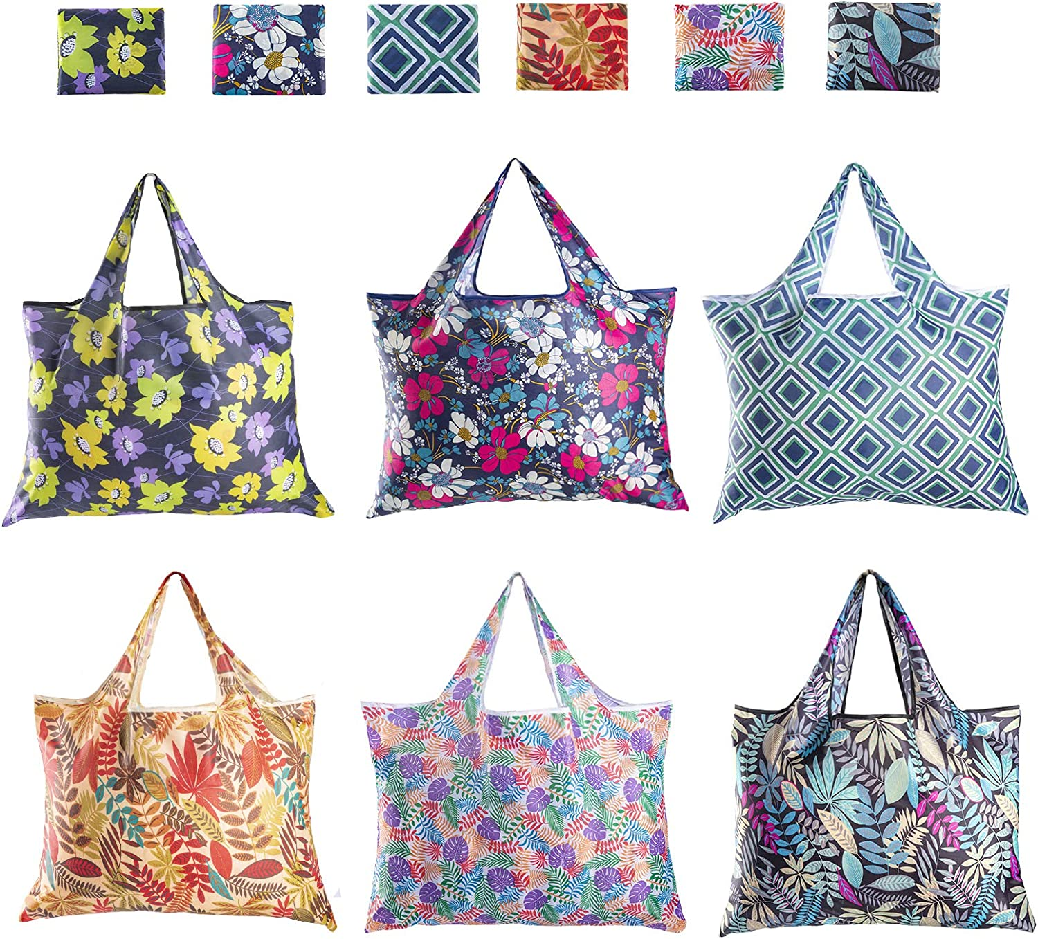 Reusable Grocery Bags,HC STAR 6 Pack Eco Friendly Large Foldable Grocery Tote Bag Heavy Duty Washable Shopping Bags/Eco-Friendly Purse Bag/Folding Bags