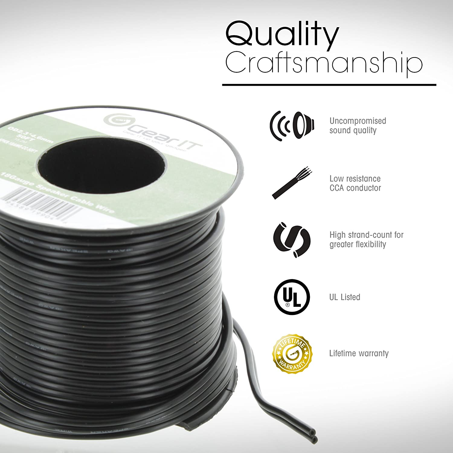 Amazon.com: GearIT Pro Series 14 AWG Gauge Speaker Wire Cable, 100 ...