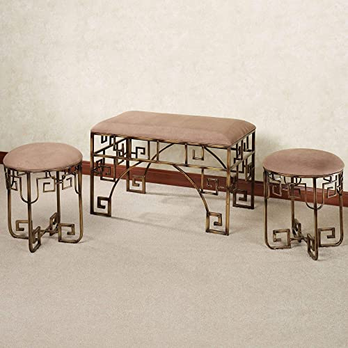 Touch of Class Brown Mocha Fabric Upholstered Metal Bench Seat Stools Set 3 Bedroom Vanity