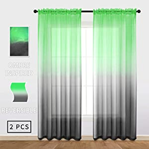 Vibrant Ombre Sheer Curtains Reversible Panels Faux Linen Drapes Green & Black Decor for Kitchen, Living Room, Bathroom, Boy Kids Bedroom, 54 inches Width by 84 inchs Length, 1 Pair