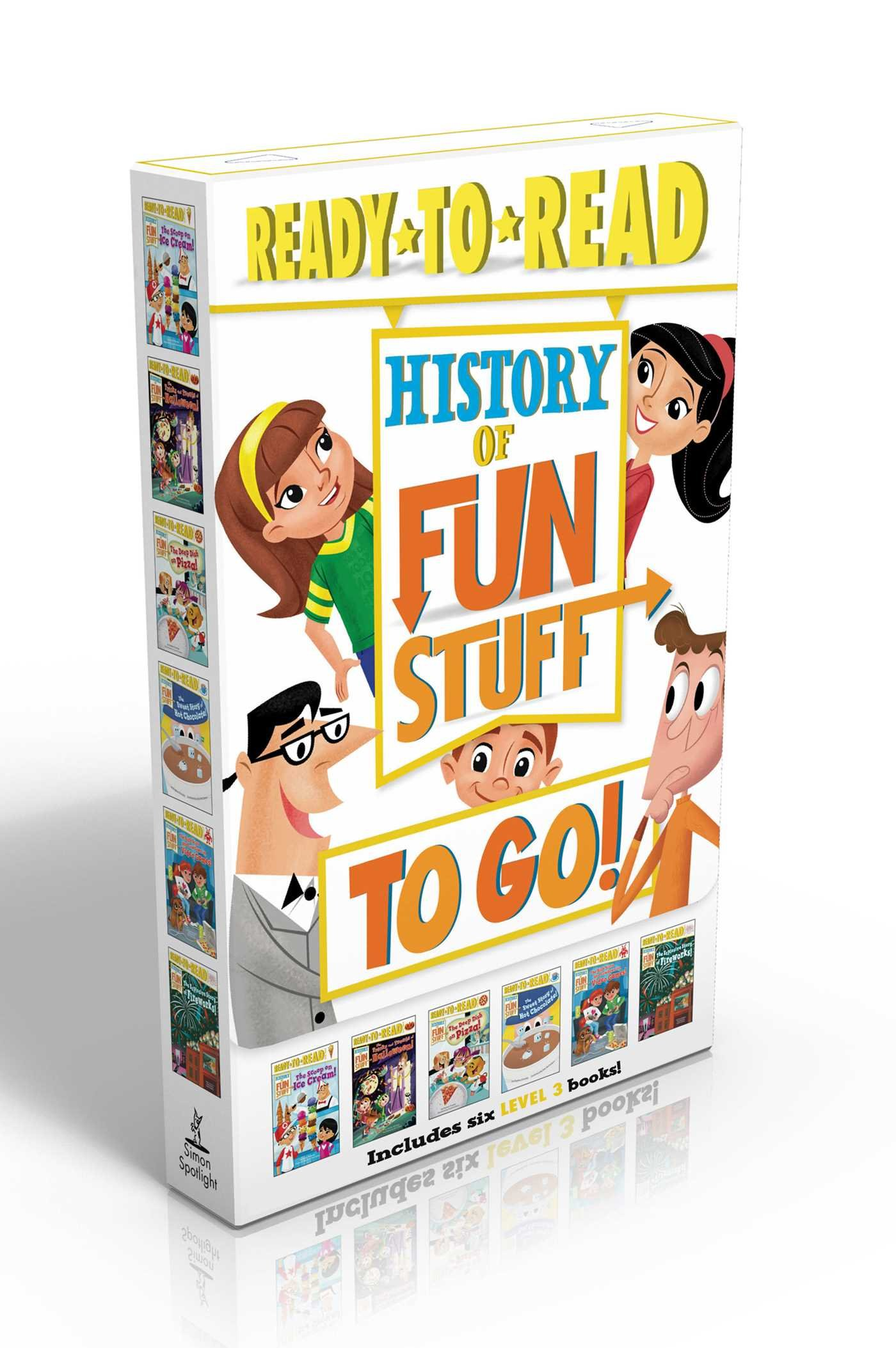 History of Fun Stuff to Go!: The Deep Dish on Pizza!; The Scoop on Ice Cream!; The Tricks and Treats of Halloween!; The Sweet Story of Hot Chocolate!; ... Games!; The Explosive Story of Fireworks! by Simon Spotlight